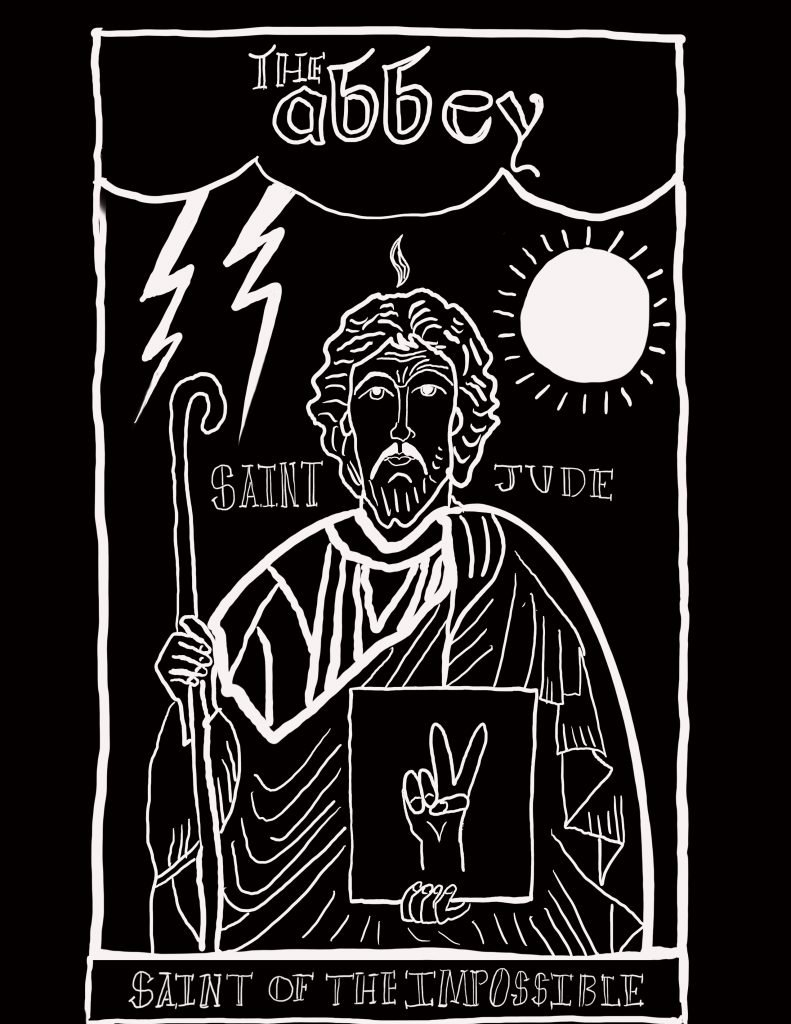 White illustration of Saint Jude on a black background with a storm, sun and peace sign