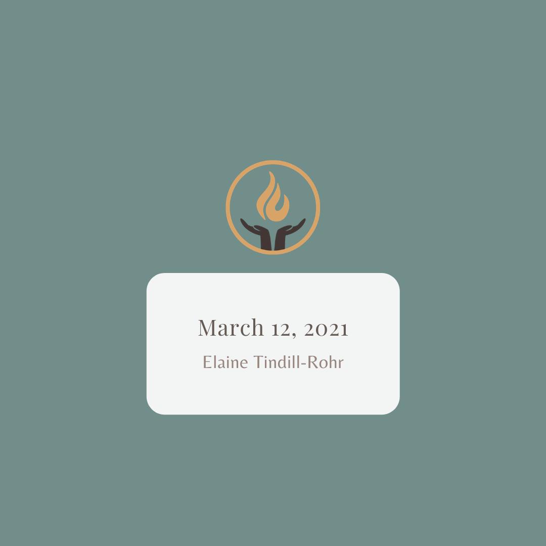 March 12 2021 Elaine Tindill-Rohr