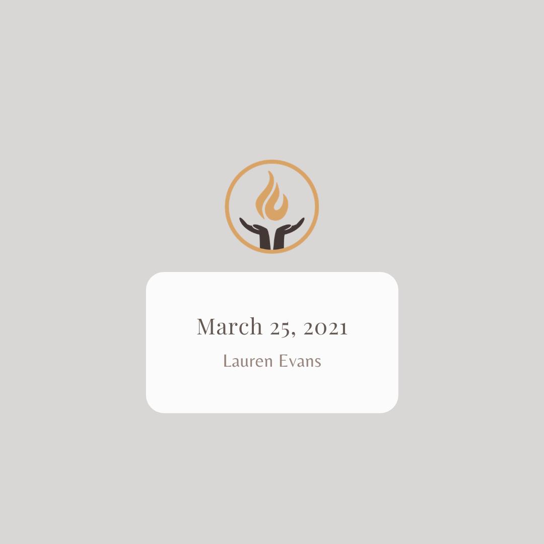 March 25 2021 Lauren Evans