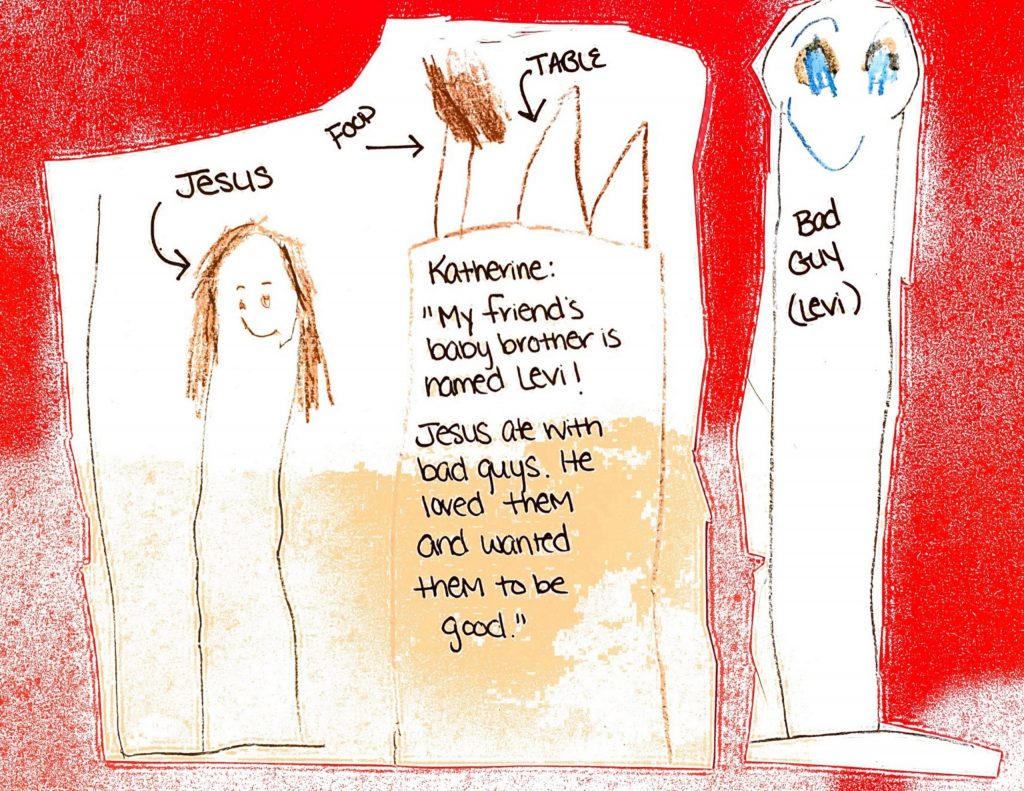 Kids drawing of Jesus and a Bad Guy, Levi, separated by a tale with food.