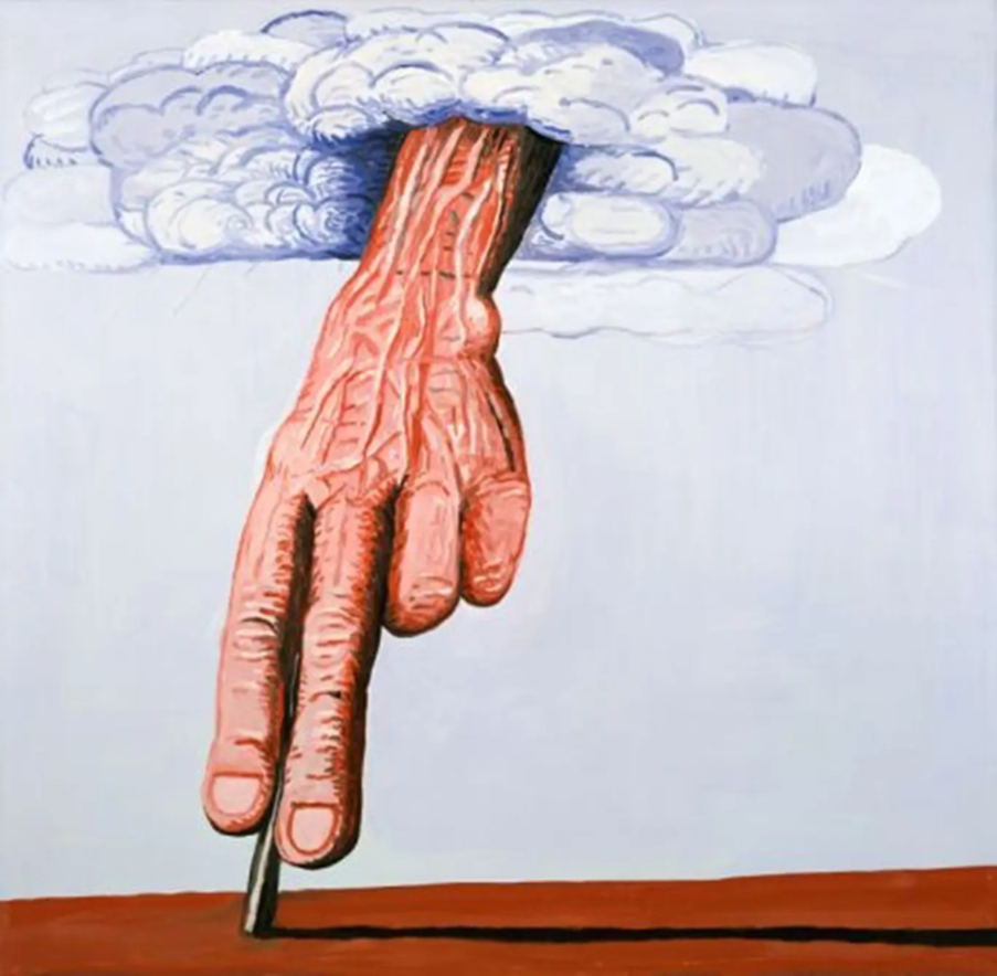The Line by Philip Guston shows a large hand reaching down to the earth with two fingers extended on a line.